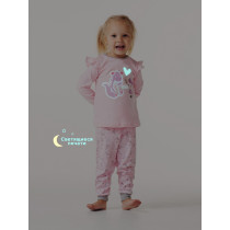 Пижама с кнопкой для девочки, арт.104247, возраст от 12 до 18 месяцев