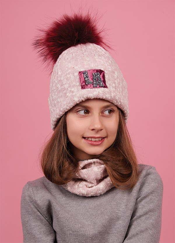 Набор для девочки (шапка+хомут), арт. Эйми, возраст от 5 до 8 лет