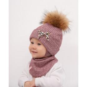 Набор для девочки (шапка+манишка), арт. Мира, возраст от 6 до 12 месяцев
