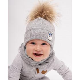 Набор для мальчика (шапка+снуд), арт. Джером, возраст от 9 до 18 месяцев