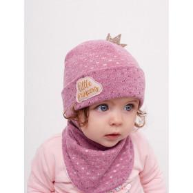 Набор для девочки (шапка+манишка), арт.Мессина, возраст от 3 до 9 месяцев