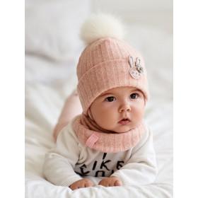 Набір для дівчинки (шапка+манишка), арт.Лісабон, від 3 до 9 місяців