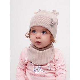 Набор для девочки (шапка+манишка), арт.Венеция, возраст от 6 до 12 месяцев